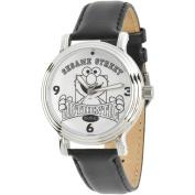 Sesame Street, Elmo Women's Silver Vintage Alloy Watch, Black Leather Strap
