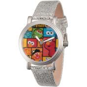 Sesame Street, Cookie Monster, Elmo, Oscar the Grouch, Grover, Big Bird, Bert and Ernie Women's Gold Vintage Alloy Watch, Silver Sequin Strap