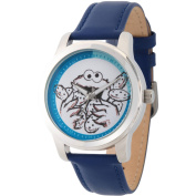 Sesame Street, Cookie Monster Silver Alloy Watch, Blue Leather Strap