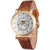 Sesame Street, Cookie Monster Women's Gold Vintage Alloy Watch, Brown Sequin Strap