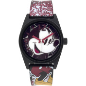 Mickey Mouse Black Case Character-Printed Dial Analogue Watch, Printed Art Strap