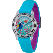 Disney Finding Dory, Nemo and Dory Girls' Clear Plastic Time Teacher Watch, Reversible Blue and Purple Nylon Strap