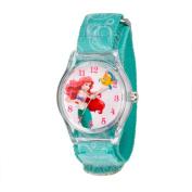 Disney Ariel Girls' Plastic Case Watch, Printed Stretch Nylon Strap