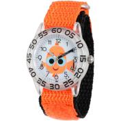 Disney Finding Dory, Nemo Girls' Blue Plastic Time Teacher Watch, Orange Hook and Loop Nylon Strap with Black Backing