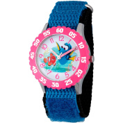 Disney Finding Dory, Marlin and Dory Girls' Stainless Steel Time Teacher Watch, Pink Bezel, Blue Hook and Loop Nylon Strap with Black Backing