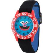 Sesame Street Grover Boys' Red Plastic Time Teacher Watch, Reversible Black and Blue Elastic Nylon Strap
