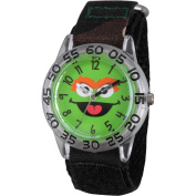 Sesame Street Oscar the Grouch Boys' Clear Plastic Time Teacher Watch, Camo Hook and Loop Nylon Strap with Black Backing