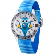 Disney Finding Dory, Dory Girls' Blue Plastic Time Teacher Watch, Blue Stripe Stretchy Nylon Strap