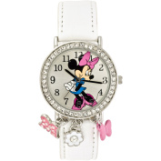 Minnie Mouse Stone Case with Dangling Charms Character-Printed Dial Analogue Watch, White Croco PU Strap