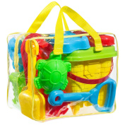 GoToys Beach sand/Bathtub toy set, Models and Moulds, Bucket, Shovels, Rakes, Etc. + Reusable Zippered Bag,it will keep your child buzy for hours, colours may vary.
