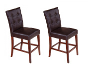 Walnut Faux Leather 60cm Counter Height Parsons Kitchen Dinette Dining Side Chairs