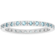 Alexandria Collection Women's CZ Sterling Silver Eternity Fashion Ring, Light Blue