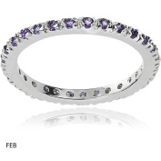 Alexandria Collection Women's CZ Sterling Eternity Anniversary Ring, Purple