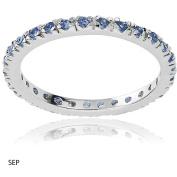 Alexandria Collection Women's CZ Sterling Eternity Anniversary Ring, Dark Blue