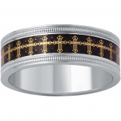 Men's Stainless Steel 8MM Gold Tone Cross on Carbon Fibre Wedding Band - Mens Ring