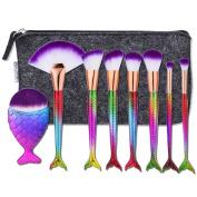 8Pcs Mermaid Makeup Brush Set Beauty Tools Powder Foundation Blush Concealer Eyeliner Eyeshadow Contours Brush + Professional Fishtail Bottom Blush Brush + Black Case Bag