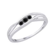 3 Black Diamond Promise Ring in 10K White Gold