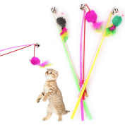 Sinwo Sinwo Kitten Cat Teaser Interactive Cat Toy Rod with Bell and Feather Exerciser Interactive Cat Wand (Colour Random)