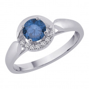 Diamond Promise Ring with Blue Centre Diamond in 14K White Gold