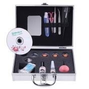 MSmask Eyelashes Extension Kit Glue False Loose EyeLash Lashes Makeup Set with Silver Box Case Salon Tool Portable