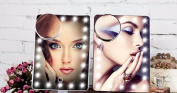 3 Colours 20 LEDs Square Cosmetic Makeup Mirror Vanity Mirror 10x Magnification including AA Batteries in Bathroom
