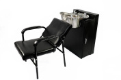 Round Polished Stainless Steel Shampoo Bowl Total w/ Floor Cabinet & Chair TLC-1368FC-216