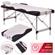 Black / White 180cm L Portable Massage Table w/ Carry Case - By Choice Products