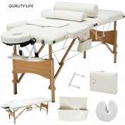 New White 3 Fold Portable Facial SPA Bed Massage Table Sheet+2 Bolster+Cradle+Hanger