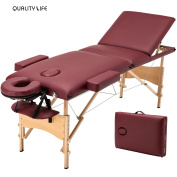 New 210cm L 3 Fold Portable Massage Table Facial SPA Bed Tattoo Red w/Free Carry Case