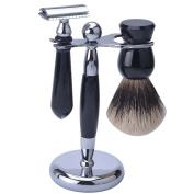 CSB Men's Grooming Shaving Kit Black Resin Handle Two Band Badger Hair Brush and Safety Razor Set HMW Badger Kit