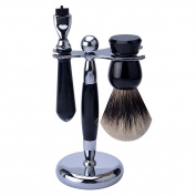 CSB 3 in1 Men's Shaving Set Badger Shaving Brush + Razor + Razor Stand, Black Resin Handle Zinc Alloy Stand Base