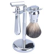 CSB Men's Grooming Shaving Kit Chome Handle Black Badger Hair Barber Shaving Tools Set