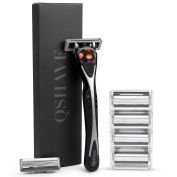 QSHAVE Black Serie Manual Men's Shaving Razor Made in Germany with X6 Blade (6-Blade) Replacement Cartridges/Refills