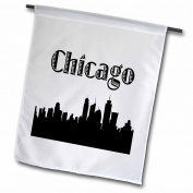 3dRose Chicago City Skyline, Garden Flag, 30cm by 46cm