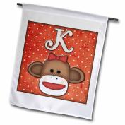 3dRose Cute Sock Monkey Girl Initial Letter K, Garden Flag, 30cm by 46cm
