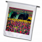 3dRose Farm tractor, Tulip Festival, Woodburn, Oregon, USA - US38 MHE0052 - Michel Hersen, Garden Flag, 30cm by 46cm