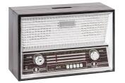 Plastic Retro Radio Money Bank Black Single