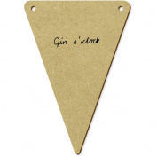 5 x 100mm 'Gin O'Clock Text' Wooden Bunting Flags