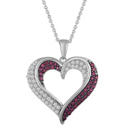 Gemspirations Sterling Silver Plated Simulated Ruby with CZ Accents Heart Pendant, 46cm