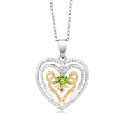 0.30 Ct Peridot with Diamond Accent Rhodium Plated Heart Pendant With Chain