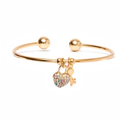 18kt Gold over Brass & Elements Multi Colour Heart Lock and Key Charm Cuff