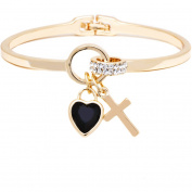 18kt Gold over Brass & Elements Black Heart & Cross Charm Bangle