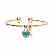 18kt Gold over Brass Elements White & Aqua Heart Lock and Key Charm Cuff