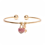 18kt Gold over Brass & Elements White & Pink Heart Lock and Key Charm Cuff