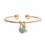 18kt Gold over Brass & Elements Aqua Heart Lock and Key Charm Cuff