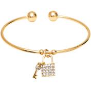 18kt Gold over Brass & Elements Lock & Key Charm Cuff