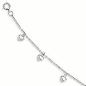 Sterling Silver RH Plated Child's Polished Heart Bracelet