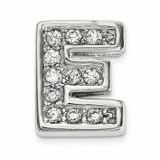 Sterling Silver Rhodium plated CZ Letter E Slide Charm