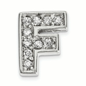 Sterling Silver Rhodium plated CZ Letter F Slide Charm