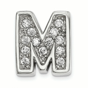 Sterling Silver Rhodium plated CZ Letter M Slide Charm